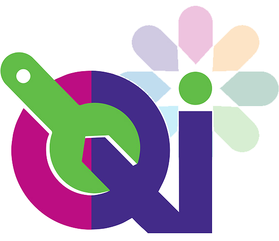 QI logo with flower