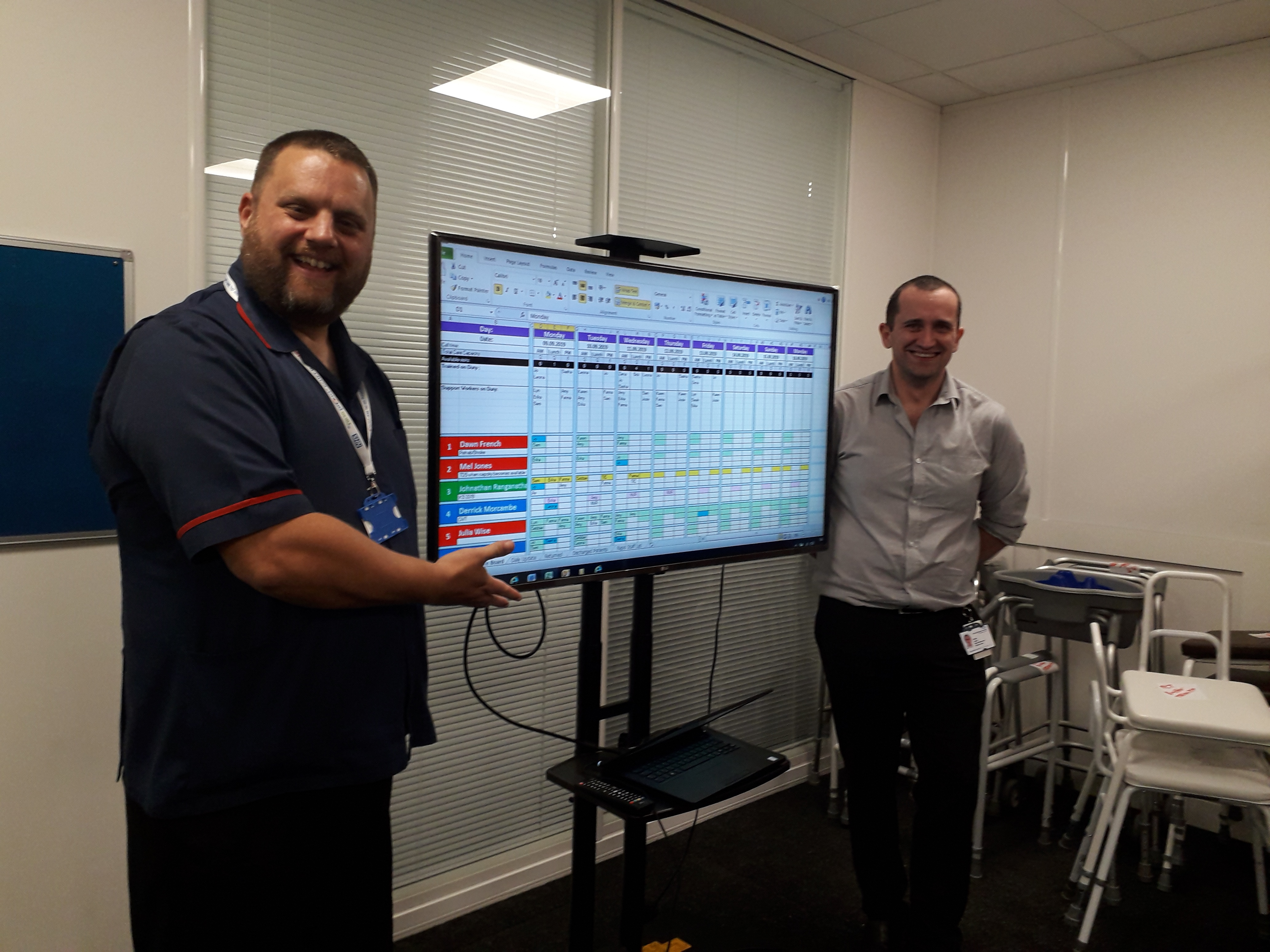 Dan Westland (left) and Owen Leach (right) with an example digital whiteboard